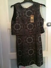 Womens Grey Geo Patterened Stylish Going Out Evening Dress Size 14 BNWT QED