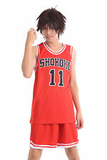 Slam Dunk Shohoku Cosplay Costume High School Rukawa Kaede Red 11 Jersey V1 Set
