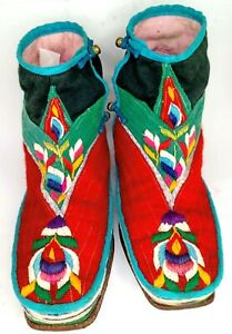 Hand Crafted Women's Moroccan Theme Ankle Boots shoes Approx Size USW 6, 23.5 cm