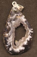 47mm 0.2OZ Natural Agate Quartz Geode Occo Oco Ocho Crystal Cluster Pendant