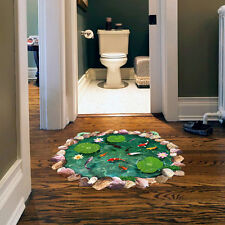 3D Effect Carp Pond Waterproof Bathroom Floor Decal Removable Wall Sticker Decor
