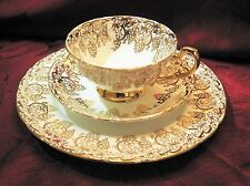 Royal Standard ENGLAND Bone China GOLD FILIGREE  3PC Tea Cup Set MINT Cond