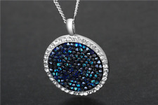 "Crystaldust Sapphire Necklace Made With Swarovski Elements 17"" 2"" Extender"