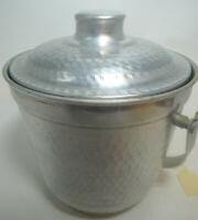 Vintage Mid Century Hammered Lidded Handle Aluminum Ice Bucket Made in Italy
