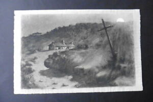 FRENCH SCHOOL 19thC - NOCTURNAL LANDSCAPE BY FULL MOON - CHARCOAL MONOGR. O