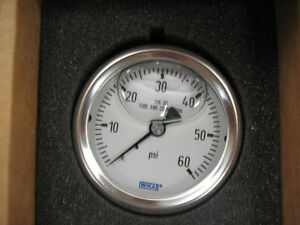 "Wika 233.53 2.5"" SS Glycerin Filled 60 PSI Gauge 9833255"