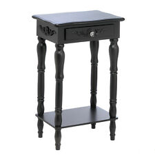 Pair of (2) Black Colonial Style Nightside Bed SideTable Accent Storage Cabinet