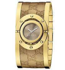 New Gucci Twirl Gold Tone Guccissima Leather Bangle Women's Watch YA112434