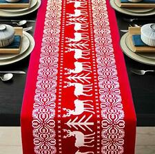 ENTHUR Christmas Table Runners Printed Linen Table Lines for Xmas Holiday Season