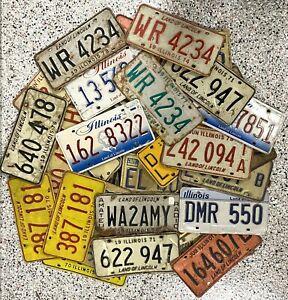 *99 CENT SALE* Illinois License Plate HUGE LOT OF 50 Mixed Base/Type Craft Grade