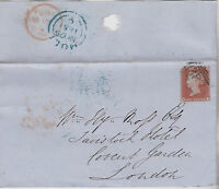 GB QV 1851 WRAPPER PENNY RED 1d IMPERF 'QD' FROM HULL TO LONDON 25TH NOV 1851