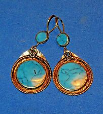 Earrings Circle Turquoise Afghan Kuchi Tribal Alpaca Silver 2""