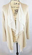 Pebble&Stone Women Open Cardigan M Cream-w-Sheer White Lining Flows Front bottom
