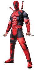 Deadpool Deluxe Adult Costume Muscle Black Red Marvel Assassin Hero Halloween