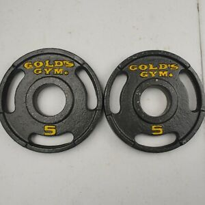 "VINTAGE 5 Lb Golds Gym Olympic Grip Weight 2"" Plates Set Of 2 - 10 lb Total"