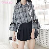 Harajuku Japanese Sweet Lolita Gray Black Plaid Shirt Bandage Hollow Cool Coat