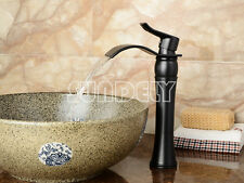 NEW Waterfall Counter Top Basin Mixer Tap Bathroom Sink Tall Chrome faucet black