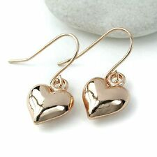 New Rose Gold Plated Little Puff Heart Dropper Drop Earrings
