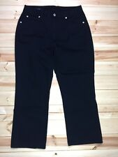Lands End Womens 6 Capri Chino Pants Cropped Black Cotton Blend 5 Pocket