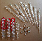 Lot of 12 clear glass twisted / spiral icicle Christmas tree ornaments 2 designs