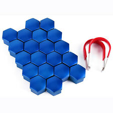 20x 17mm Blue Bolt Head Hexagonal Nut Covers Caps Protectors Car Wheel