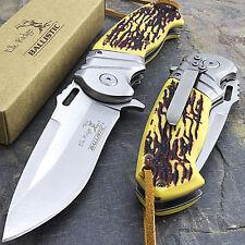 """8.25"""" ELK RIDGE BONE HANDLE SPRING ASSISTED TACTICAL FOLDING POCKET KNIFE Blade"""