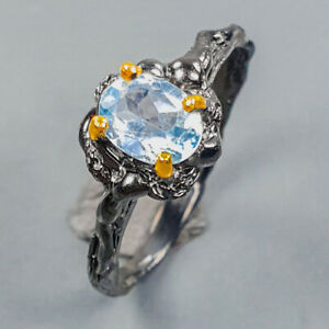 Handmade fine Art Blue Topaz Ring Silver 925 Sterling  Size 7 /R173453