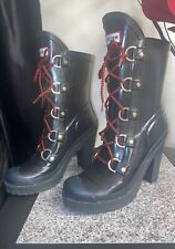 """HUNTER GABBY LAPIN LONNY BLACK 4"""" HIGH HEEL PLATFORM RED LACED RUBBER BOOTS 8 39"""