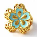 yellow Gold Filled Womens Blue Enamel butterfly Ring Size 7 8 9 Hollow Flower