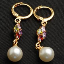 Lovely New Yellow Gold Plated Multi-Color Marquis Accented Pearl Dangle Earrings