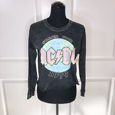 AC/DC Summer Tour 1979 Acid Wash Crop Longsleeve Tee Size M NWOT