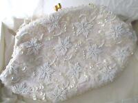 Vintage La Regale White Beaded Sequin Clutch Purse Handbag Bag Hong FREE SHIP