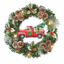 Festive Red Pickup Truck Pups Christmas Holiday Wreath