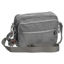 KIPLING Wrinkle Nylon Grey Monkey Keychain Shoulder Crossbody Bag Purse