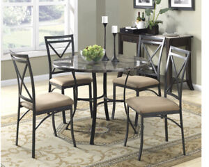 Mainstays 5-Piece Classic Faux Marble Top Contemporary Style Dining Set