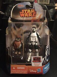 Star Wars Rebels Figure 2 Pack. Biker Scout Wicket Ewok MOC Vintage Characters