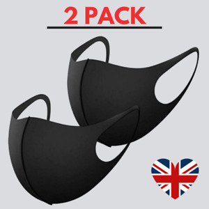2 x Face Mask Black Protective Breathable Cotton Washable Reusable Cover UK Pack