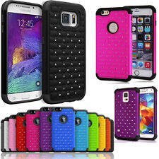 Stud Heavy Duty Shock Proof Rhinestone Bling Armor Hard Silicon Back Case Covers