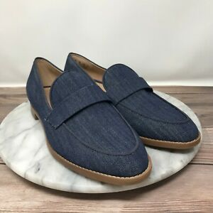 NEW Franco Sarto Hudley Blue Shimmer Denim Slip On Loafers Womens Size 7