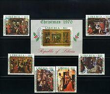 CHRISTMAS >PAINTERS > LIBERIA  {6} + S/S/  >>1970   N/H