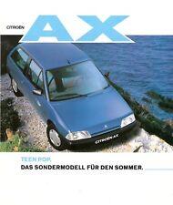 Prospekt / Brochure Citroen AX Teen Pop