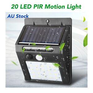 20 LED Solar Powered PIR Motion Sensor Lights Garden Outdoor Security Door Fence