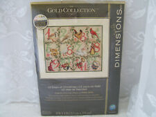 """New ListingDimensions Gold Collection """"12 Days of Christmas"""" Cross Stitch Kit New"""