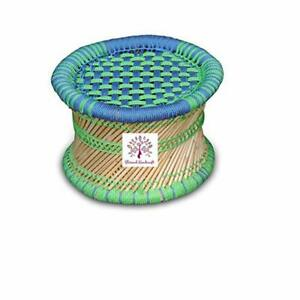 Ecofriendly Blue & Green Garden Stool Cane Wood Pidha Mudda Muddi Pouf Table