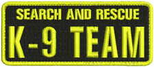 Search and Rescue K9 Team embroidery patches 2x5 yellow