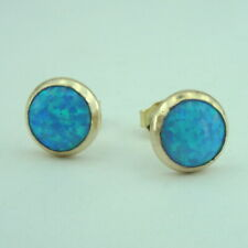 Hadar Designer Turquoise Stud Earrings Handmade 14k Yellow Gold F 11mm Round (v
