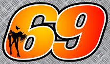 NUMERO 69 ORANGE/NOIR SEXY 12cmX7cm RACING GP MOTO AUTOCOLLANT STICKER NU006