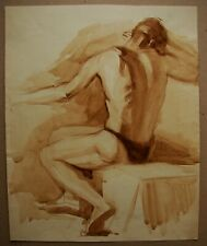Russian Ukrainian Soviet watercolor Painting male nude figure man realism