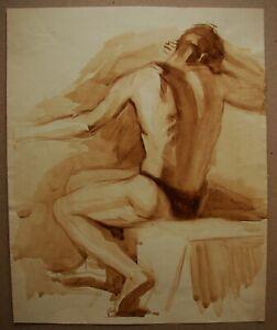 Russian Ukrainian Soviet watercolor Painting male nude figure man realism