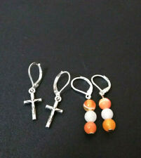 Earrings Set Of 2 pairs  Leverback  Sterling Sliver  Cross and Moonstone B